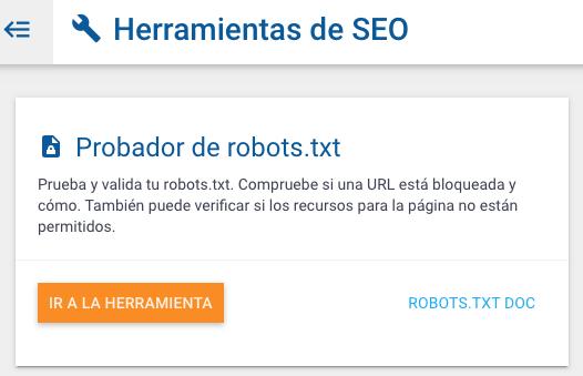 probar archivo robots.txt seo